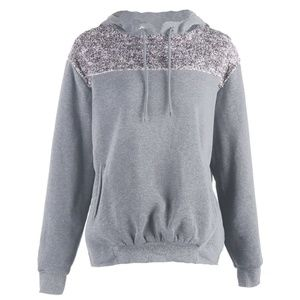 Light Grey Shiny Plush Sweatshirt (C84D)